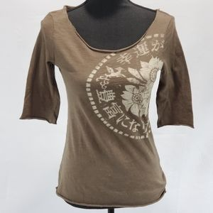 Lucky Brand Flower Rolled 3/4 Sleeve Top